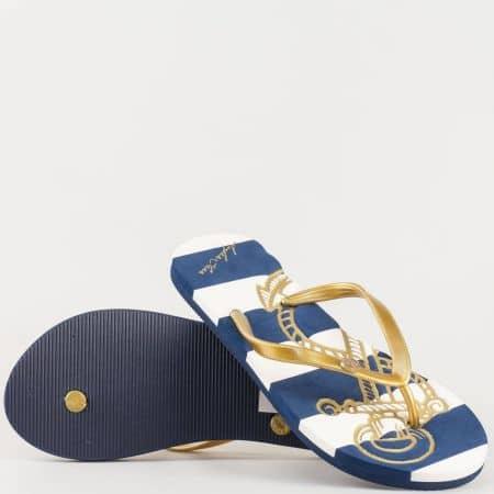 Дамски атрактивни джапанки с лента между пръстите в златисто, синьо и бяло m535zl
