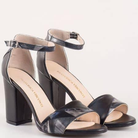 Дамски елегантни сандали в черен цвят на висок стабилен ток с модерен принт m546ch