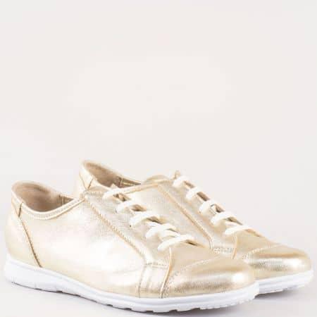 Златни дамски обувки с връзки от естествена кожа m605zl