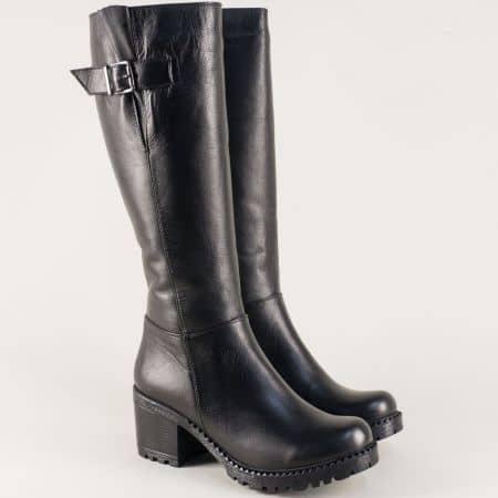 Дамски ботуши от естествена черна кожа на среден ток m610ch