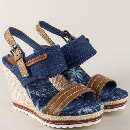Модерни дамски сандали на платформа в син и тъмно кафяв цвят  m6372s