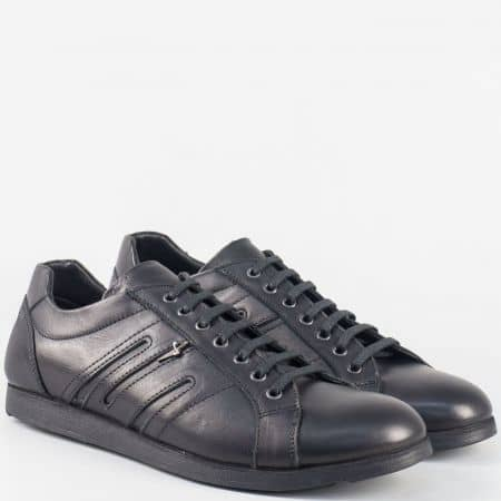 Мъжки спортни обувки с връзки от естествена кожа в черен цвят m63ch