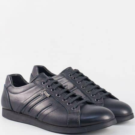 Сини мъжки обувки с връзки изработени от естествена кожа m63s