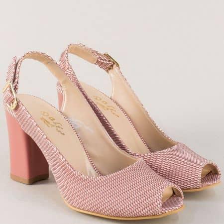 Розови дамски обувки с отворени пета и пръсти на ток m650rz