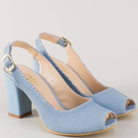 Сини дамски обувки на висок ток с отворени пръсти и пета m650s