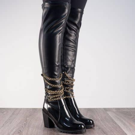Дамски ботуши, тип чизми в черен цвят на висок ток m651ch