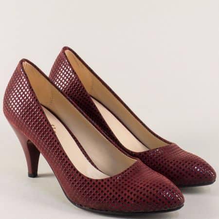 Дамски обувки на висок ток в цвят бордо m700bdt