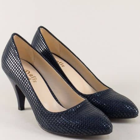 Дамски обувки в син цвят с ефектен принт и висок ток m700st