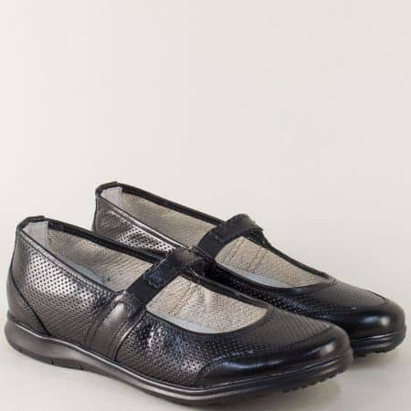 Черни дамски обувки с кожена ортопедична стелка m702ch
