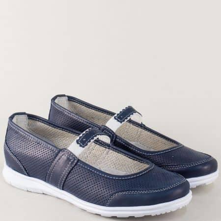 Перфорирани дамски обувки от синя естествена кожа m702s