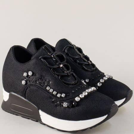 Черни дамски маратонки на платформа с камъчета m7182ch