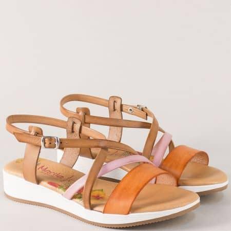 Дамски сандали в кафяво, оранж и розово с кожена стелка m721k