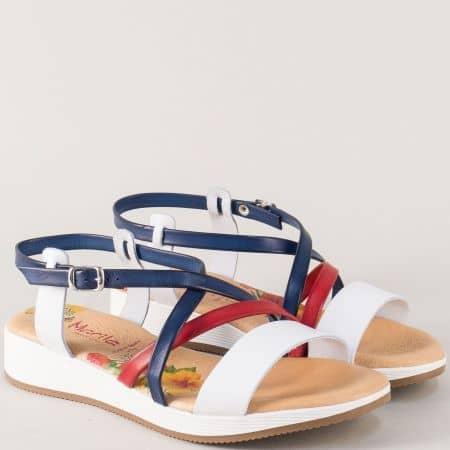 Кожени дамски сандали в бяло, синьо и червено- Испания m721tomi