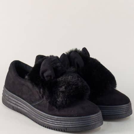 Черни дамски обувки на платформа с ефектен пух m7317ch