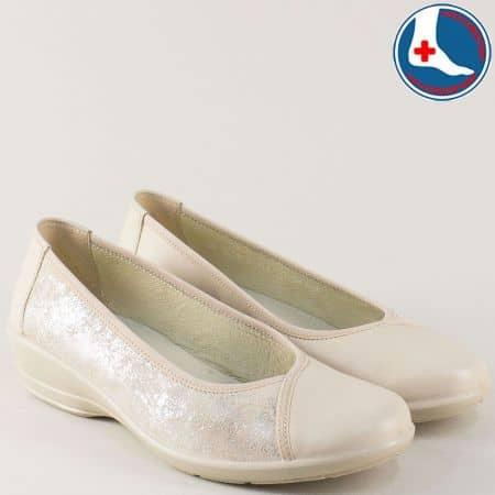 Бежови дамски обувки Alpina от естествена кожа на клин ходило m777bj