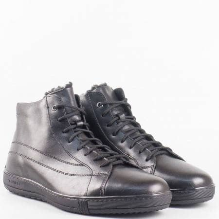 Мъжки комфортни обувки, тип кец, изработени от висококачествена естествена кожа на български производител в черен цвят m7892ch