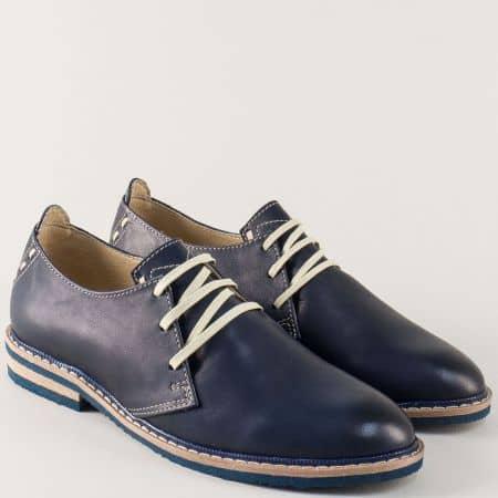 Равни дамски обувки с връзки от синя естествена кожа m794s