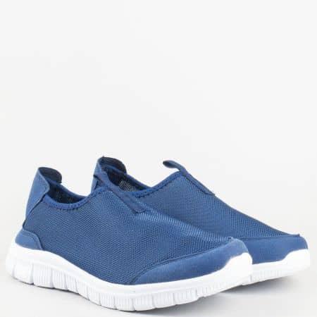 Сини дамски маратонки без връзки с олекотено бяло ходило m803s