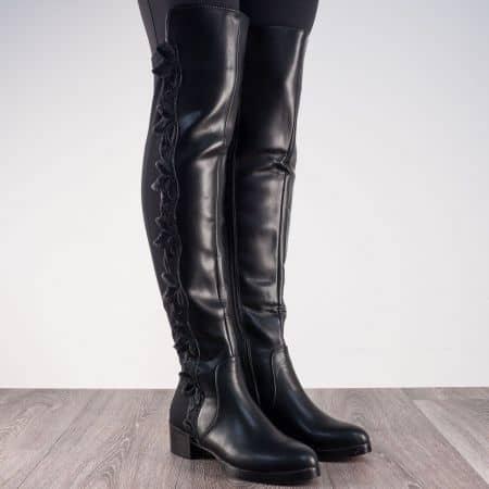 Дамски ботуши над коляното в черен цвят на нисък ток m832ch
