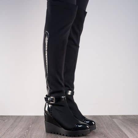 Екстравагантни дамски ботуши на платформа в черен цвят m852ch