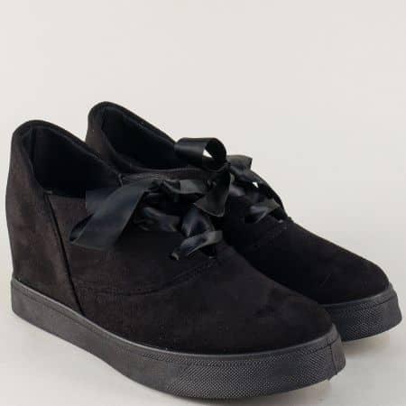 Черни дамски обувки на стабилно ходило с практични връзки m888vch