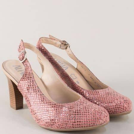 Розови дамски обувки с кожена стелка и висок ток m917zrz