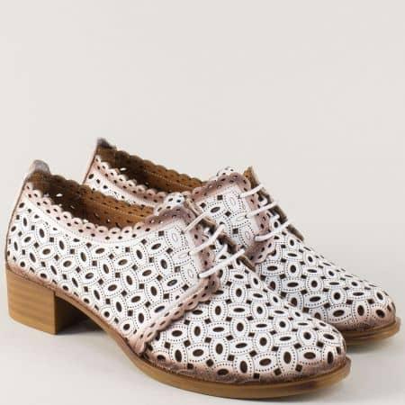 Перфорирани дамски обувки от бяла естествена кожа m95b