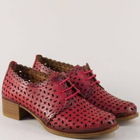 Кожени дамски обувки на нисък ток в червен цвят m95chv