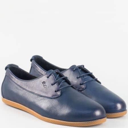 Дамски равни обувки с връзки от естествена кожа в син цвят ma02s