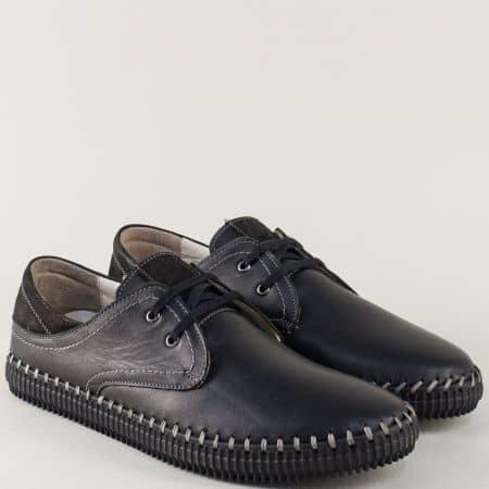 Кожени мъжки обувки на равно ходило с връзки в черен цвят ma05ch