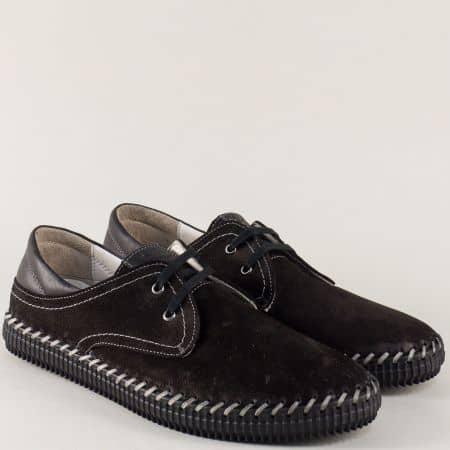 Черни мъжки обувки от естествен набук на равно ходило с връзки ma05nch