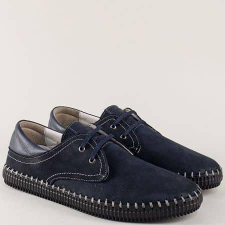 Сини мъжки обувки от естествен набук с връзки ma05ns