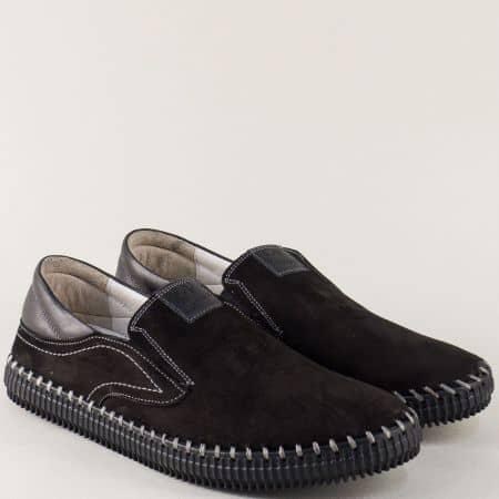 Черни мъжки обувки, тип мокасини от естествен набук на равно ходило ma06nch