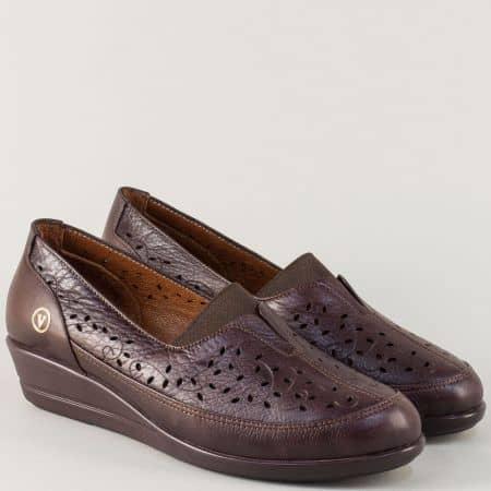 Тъмно кафяви дамски обувки на клин ходило с ластик ma1001kk