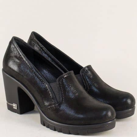 Черни дамски обувки от естествена кожа на стабилен висок ток ma202ch