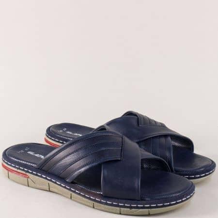 Мъжки чехли от синя естествена кожа на шито ходило ma738s