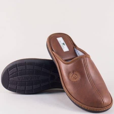 Кафяви мъжки пантофи на комфортно ходило- Spesita mack