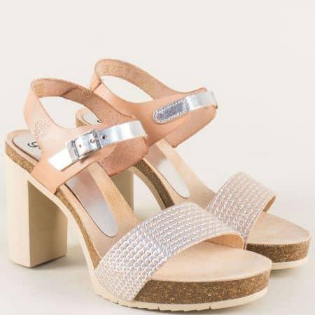 Кожени дамски сандали в бежово и сребро на висок ток malibu050bj