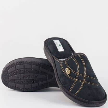 Черни мъжки пантофи в черен цвят на шито ходило manuelch