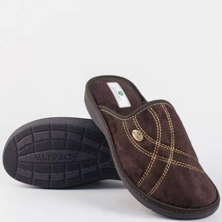 Мъжки домашни пантофи- Spesita в кафяв цвят на удобно ходило manuelkk