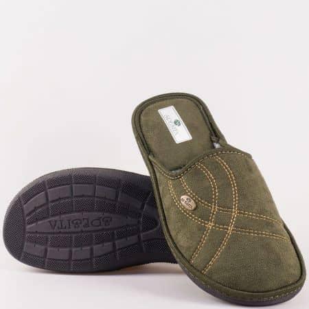 Комфортни мъжки пантофи в зелен цвят на шито ходило manuelz