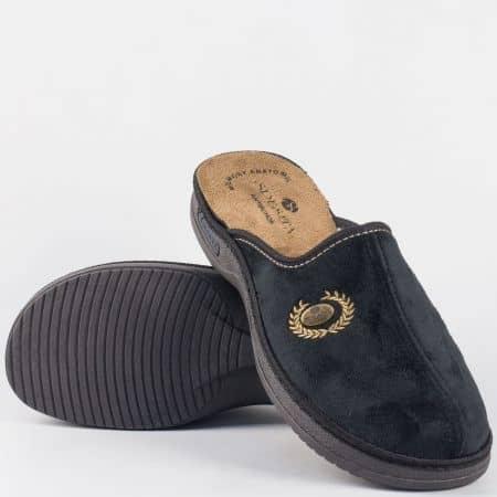 Мъжки, шити домашни чехли- Spesita в черен цвят match