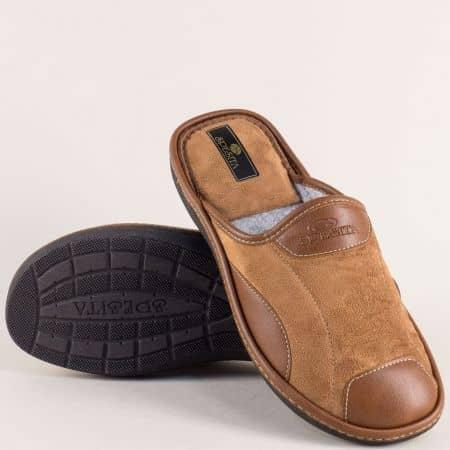 Кафяви мъжки пантофи на комфортно равно ходило mauriziok
