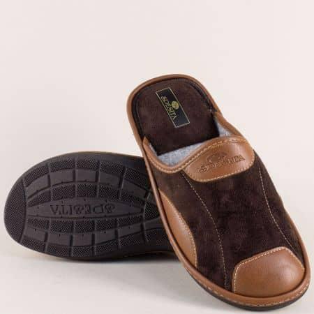 Мъжки пантофи Spesita на равно ходило в кафяв цвят mauriziokk