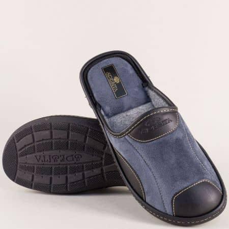 Мъжки пантофи Spesita в син и черен цвят на равно ходило mauriziosv