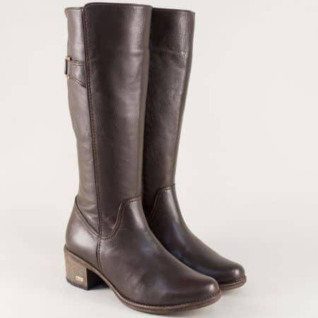 Кафяви дамски ботуши от естествена кожа на среден ток melisa838kk