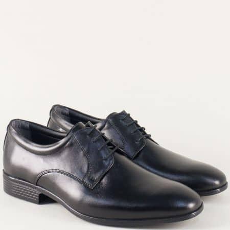 Кожени мъжки обувки в черен цвят с връзки mm120ch