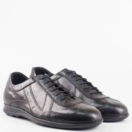 Модерни спортно-елегантни мъжки обувки от естествена кожа в черен цвят mm302ch