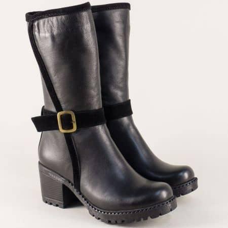 Черни дамски ботуши от естествена кожа на среден ток mm600ch