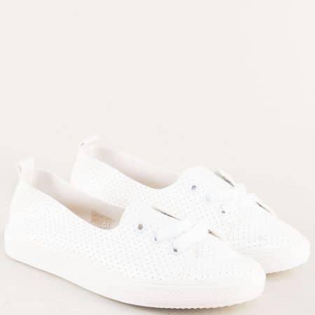 Бели дамски обувки с перфорация с връзки n015b